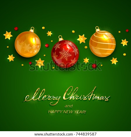 Christmas balls and stars with beads on green holiday background with lettering Merry Christmas and Happy New Year, illustration.
