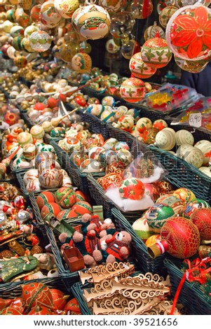 Christmas balls and tree decorations sold on the market