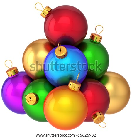 Christmas balls ball ornament decoration pyramid multicolored. New Years Eve bauble ornate colorful rainbow. Traditional Merry Xmas wintertime greeting card. 3d render isolated on white background