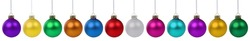 Christmas balls baubles banner ball bauble decoration in a row isolated on a white background