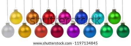 Christmas balls baubles banner decoration colors hanging isolated on a white background #1197134845