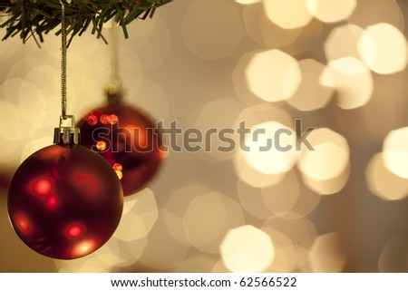 christmas balls before a twinkle background