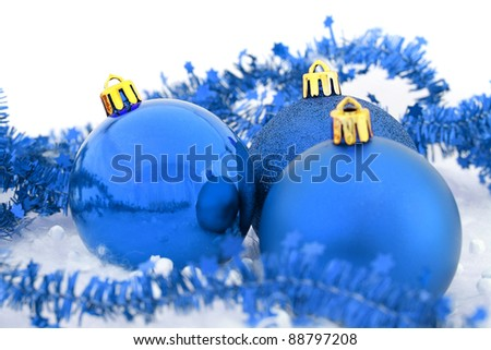 Christmas balls blue background