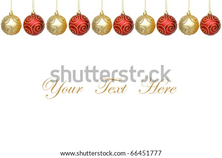 Christmas balls decorations isolated on white background for message