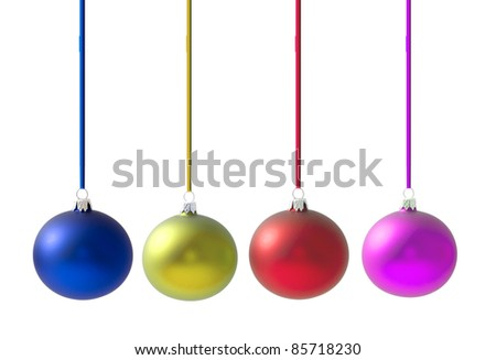 Christmas balls full of colors, with reflection on white background