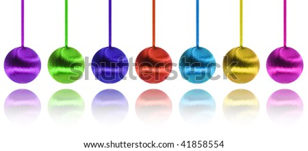 Christmas balls hanging in order covered with cotton