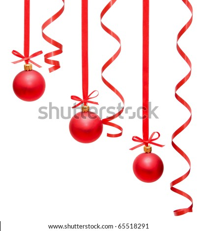 christmas balls hanging with ribbons on white background #65518291