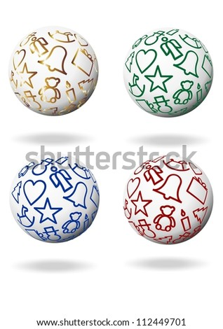 christmas balls in gold, blue, green and red