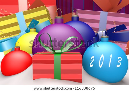 Christmas balls in snow with presents and mark 2013 3d concept