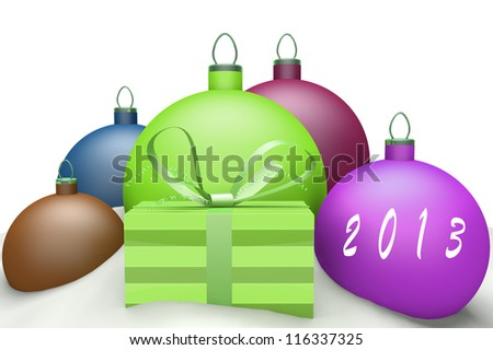 Christmas balls in snow with presents and mark 2013 3d concept isolated on white background
