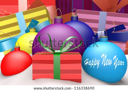 Christmas balls in snow with presents and mark Happy New Year 3d concept