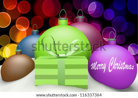 Christmas balls in snow with presents and mark Marry Christmas 3d concept on color bokeh background