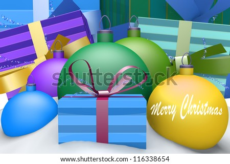 Christmas balls in snow with presents and mark Merry Christmas 3d concept