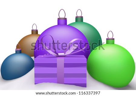 Christmas balls in snow with presents 3d concept isolated on white background