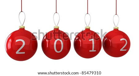 Christmas 2012 balls New Years eve baubles colored golden decorated with red date. Calendar design element concept. Traditional luxury Xmas decoration. Detailed 3d render. Isolated on white background