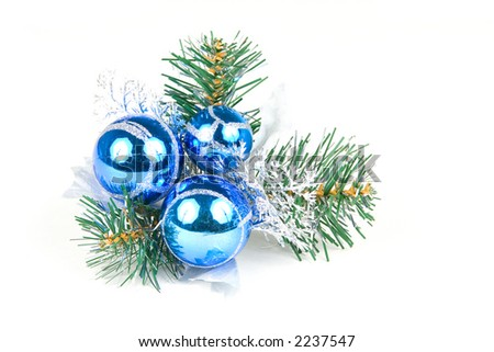 christmas balls on a pine tree isolated on white background - stock photo