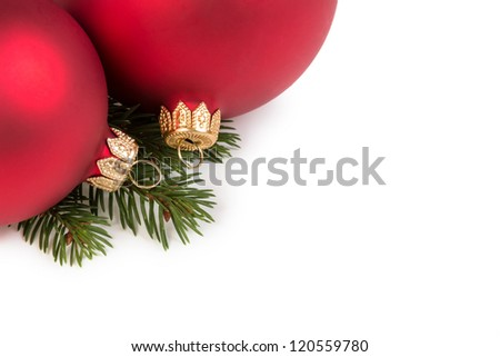christmas balls on fir branch, white background