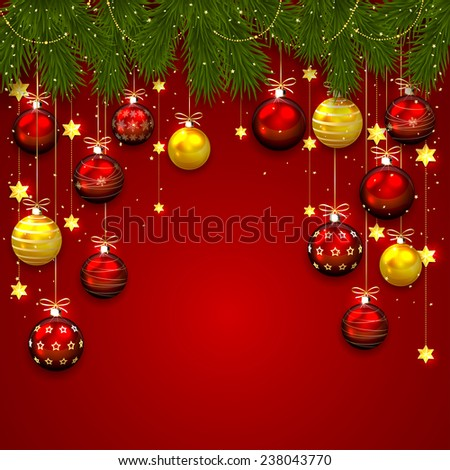 Christmas balls, stars, confetti and fir tree branches on red background, illustration.