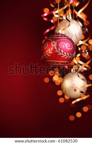 Christmas balls,streamers and abstract bokeh with copy space.