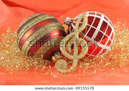 Christmas balls with a music note deco