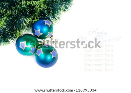 Christmas balls with a pine tinsel isolated on white background with copy space for your text