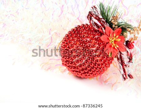 Christmas balls with abstract lights background