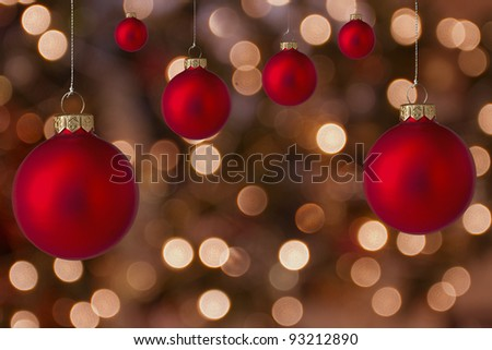 Christmas balls with blurred light background