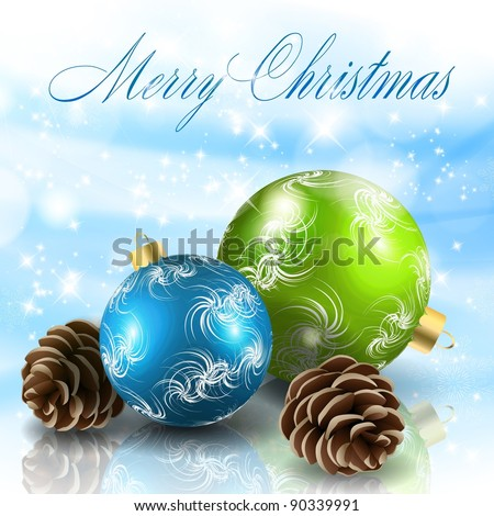 Christmas balls with cones. Raster copy of vector illustration