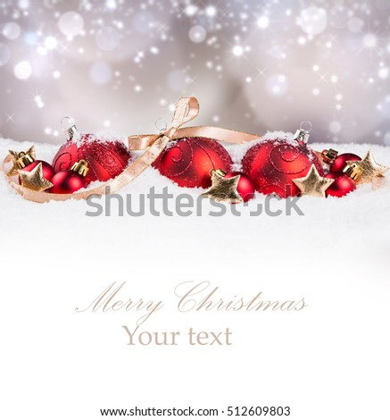 Christmas balls with decorations in snow background. Celebration object with free space for text  #512609803