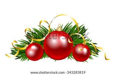 Christmas balls with fir tree branch. Clip art