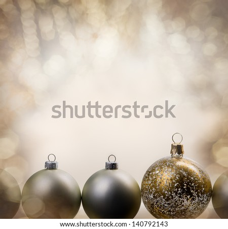 christmas balls with glittering background