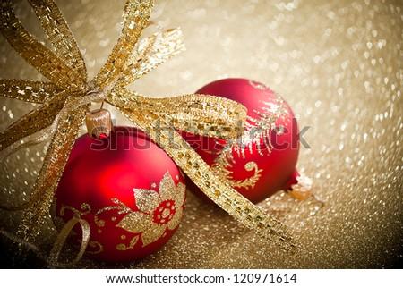 Christmas balls with golden ribbon