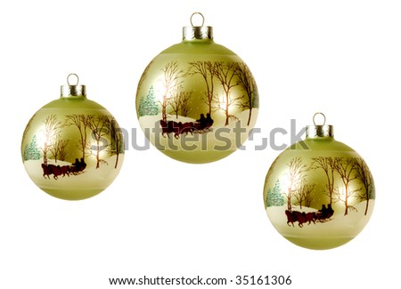 CHRISTMAS BALLS WITH PICTURE OF A SLEIGH RIDE