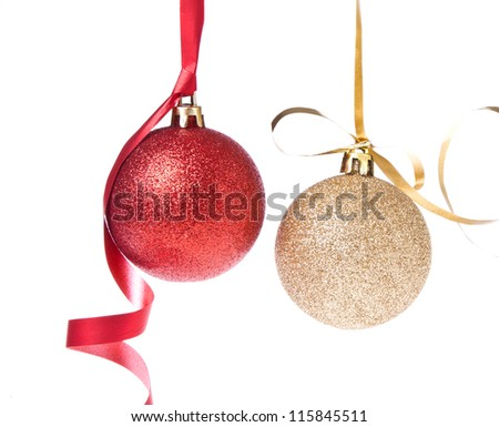 christmas balls with ribbon isolated on white background