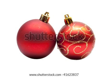 christmas balls with shallow focus on white background
