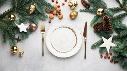Christmas Banner Dinner Table Setting Frame With Empty Plate, Cutlery, Christmas Toys And Fir Tree. Winter Holidays Background