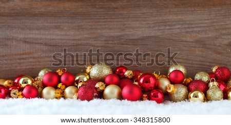 christmas banner with  christmas baubles #348315800