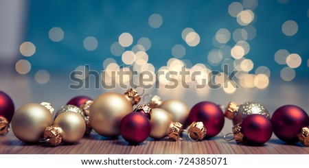 christmas banner with  christmas baubles