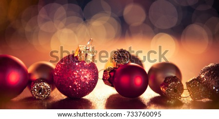christmas banner with  christmas baubles #733760095