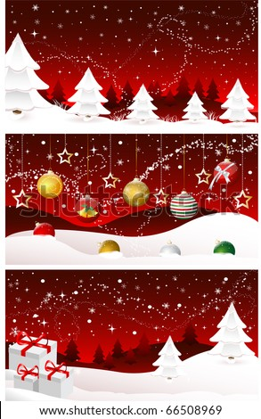Christmas banners, cards, merry christmas, new year, collection, set