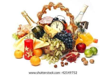christmas basket of goods on white background