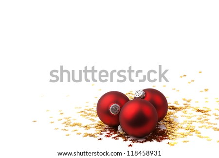 Christmas Bauble and Stars isolated on white background