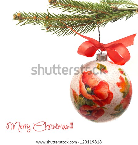 Christmas bauble made by deocupage