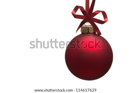 Christmas bauble with curly ribbon isolated on white