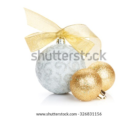 Christmas baubles and golden ribbon. Isolated on white background #326831156