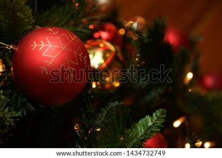 Christmas baubles hanging on the tree. #1434732749