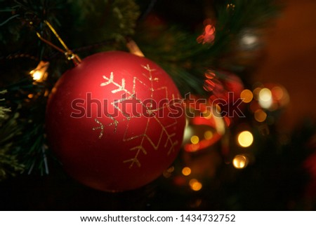 Christmas baubles hanging on the tree. #1434732752