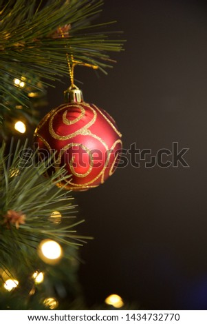 Christmas baubles hanging on the tree. #1434732770