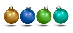 Christmas baubles in green, gold and blue