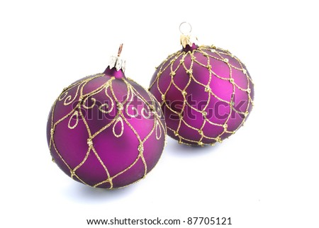 Christmas baubles isolated against a white background
